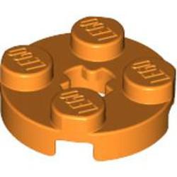 Orange Plate, Round 2 x 2 with Axle Hole - used