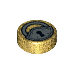 Pearl Gold Tile, Round 1 x 1 with Black and Silver Padlock Pattern