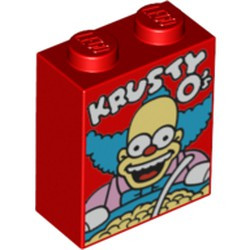 Red Brick 1 x 2 x 2 with Inside Stud Holder with 'KRUSTY O's' Cereal Box Pattern - new