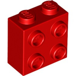 Red Brick, Modified 1 x 2 x 1 2/3 with Studs on 1 Side - new