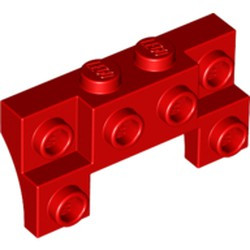 Red Brick, Modified 2 x 4 - 1 x 4 with 2 Recessed Studs and Thin Side Arches - new