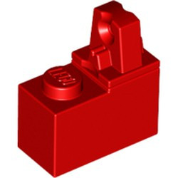 Red Hinge Brick 1 x 2 Locking with 1 Finger Top - used
