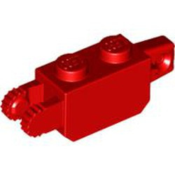 Red Hinge Brick 1 x 2 Locking with 1 Finger Vertical End and 2 Fingers Vertical End, 9 Teeth - used