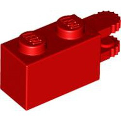 Red Hinge Brick 1 x 2 Locking with 2 Fingers Horizontal End, 9 Teeth - used
