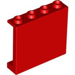 Red Panel 1 x 4 x 3 with Side Supports - Hollow Studs