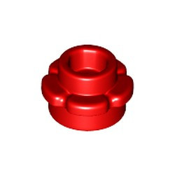 Red Plate, Round 1 x 1 with Flower Edge (5 Petals) - new