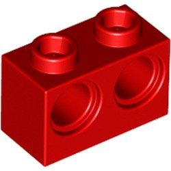 Red Technic, Brick 1 x 2 with Holes - new