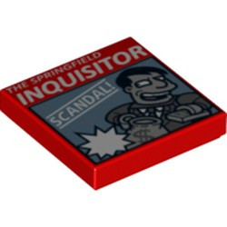 Red Tile 2 x 2 with Groove with 'THE SPRINGFIELD INQUISITOR' Pattern