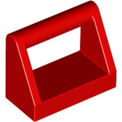 Red Tile, Modified 1 x 2 with Bar Handle - new
