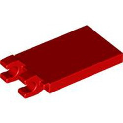 Red Tile, Modified 2 x 3 with 2 Clips Angled - used