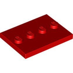 Red Tile, Modified 3 x 4 with 4 Studs in Center