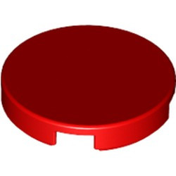 Red Tile, Round 2 x 2 with Bottom Stud Holder - used