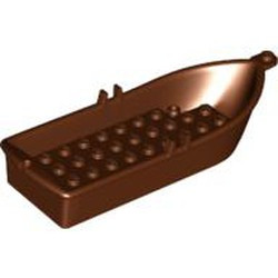 Reddish Brown Boat, 14 x 5 x 2 with Oarlocks and 2 Hollow Inside Studs - used