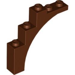 Reddish Brown Brick, Arch 1 x 5 x 4 - Irregular Bow, Reinforced Underside - used