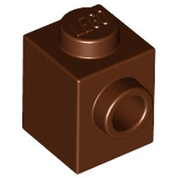 Reddish Brown Brick, Modified 1 x 1 with Stud on 1 Side - new