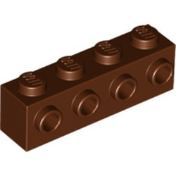 Reddish Brown Brick, Modified 1 x 4 with 4 Studs on 1 Side - new