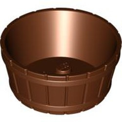 Reddish Brown Container, Barrel Half Large with Axle Hole - used
