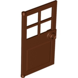 Reddish Brown Door 1 x 4 x 6 with 4 Panes and Stud Handle - new