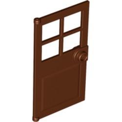 Reddish Brown Door 1 x 4 x 6 with 4 Panes and Stud Handle