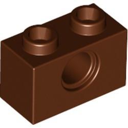 Reddish Brown Technic, Brick 1 x 2 with Hole - new
