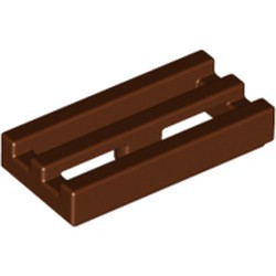 Reddish Brown Tile, Modified 1 x 2 Grille with Bottom Groove / Lip