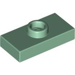 Sand Green Plate, Modified 1 x 2 with 1 Stud without Groove (Jumper) - used