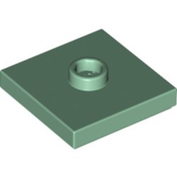 Sand Green Plate, Modified 2 x 2 with Groove and 1 Stud in Center (Jumper) - new