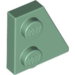 Sand Green Wedge, Plate 2 x 2 Right - new