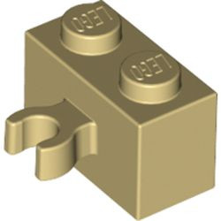 Tan Brick, Modified 1 x 2 with Open O Clip Thick (Vertical Grip) - new