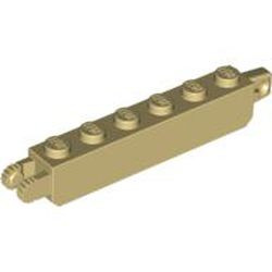 Tan Hinge Brick 1 x 6 Locking with 1 Finger Vertical End and 2 Fingers Vertical End, 9 Teeth