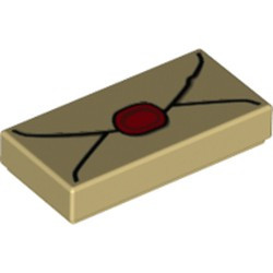Tan Tile 1 x 2 with Groove with Envelope with Red Wax Seal and Dark Tan Highlights Pattern - new