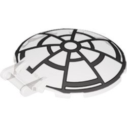 Trans-Black Dish 6 x 6 Inverted - No Studs with Bar Handle with SW 8 Spoke Death Star Window Pattern - used