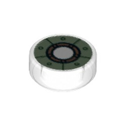 Trans-Clear Tile, Round 1 x 1 with Sand Green Iron Man Chest Reactor Pattern - new