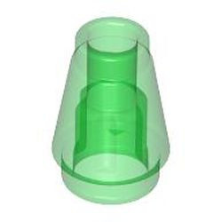 Trans-Green Cone 1 x 1 without Top Groove