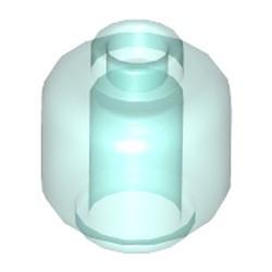 Trans-Light Blue Minifigure, Head (Plain) - new - Hollow Stud