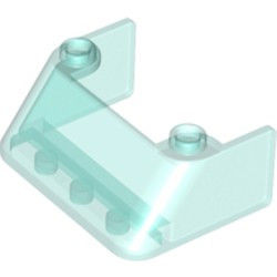 Trans-Light Blue Windscreen 3 x 4 x 1 1/3 with 2 Studs on Top