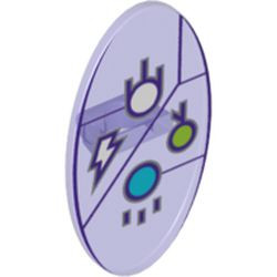 Trans-Purple Minifigure, Shield Oval with Dimensions Keystone Symbol with White, Lime and Medium Azure Circles and Lightning Bolt Pattern