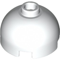 White Brick, Round 2 x 2 Dome Top - Hollow Stud with Bottom Axle Holder x Shape + Orientation - new