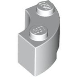 White Brick, Round Corner 2 x 2 Macaroni with Stud Notch - used