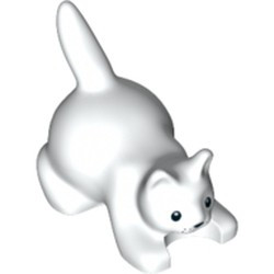 White Cat, Crouching with Black Eyes, Nose and Whisker Dots Pattern - new