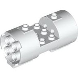 White Cylinder 3 x 6 x 2 2/3 Horizontal - Round Connections Between Interior Studs