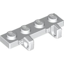 White Hinge Plate 1 x 4 Locking Dual 1 Fingers on Side