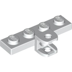 White Plate, Modified 1 x 4 with Tow Ball Socket, Flattened with Holes