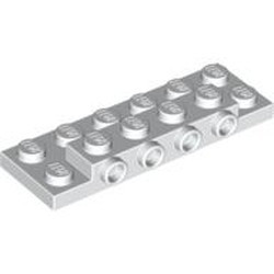 White Plate, Modified 2 x 6 x 2/3 with 4 Studs on Side - new
