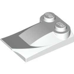 White Slope, Curved 3 x 2 x 2/3 with Two Studs, Wing End