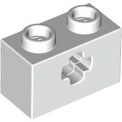 White Technic, Brick 1 x 2 with Axle Hole - new