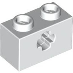 White Technic, Brick 1 x 2 with Axle Hole - used
