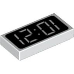 White Tile 1 x 2 with Groove with Clock Digital Pattern - '12:01' or '10:21'