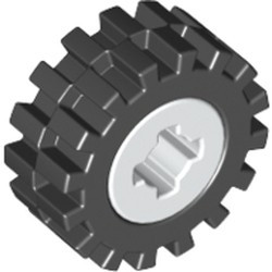White Wheel 8mm D. x 6mm with Black Tire 15mm D. x 6mm Offset Tread Small (4624 / 3641) - used
