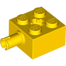 Yellow Brick, Modified 2 x 2 with Pin and Axle Hole